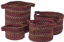 Colonial Mills Braided American Farmhouse Vintage 4 Piece Set (10x10x7, 13x13x9, 14x14x16, 16x16x10) basket Collection