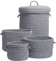 Colonial Mills Braided Dre Braided Wool 4 Piece Set (10x10x7, 12x12x9, 14x14x10, 16x16x20) basket Collection