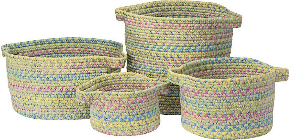 colonial mills kids space 4 piece set (10x10x7, 13x13x9, 16x16x10, 14x14x16) braided basket collection