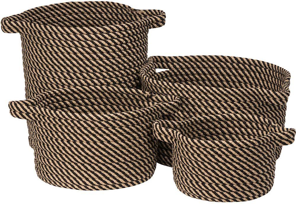 colonial mills homestead 4 piece set (10x10x7, 13x13x9, 15x15x18, 16x16x10) braided basket collection