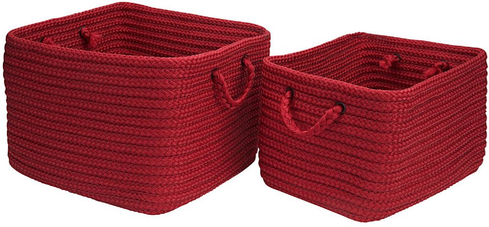 colonial mills modern farmhouse braided mudroom 2 piece set (12x10x8, 16x12x10) braided basket collection