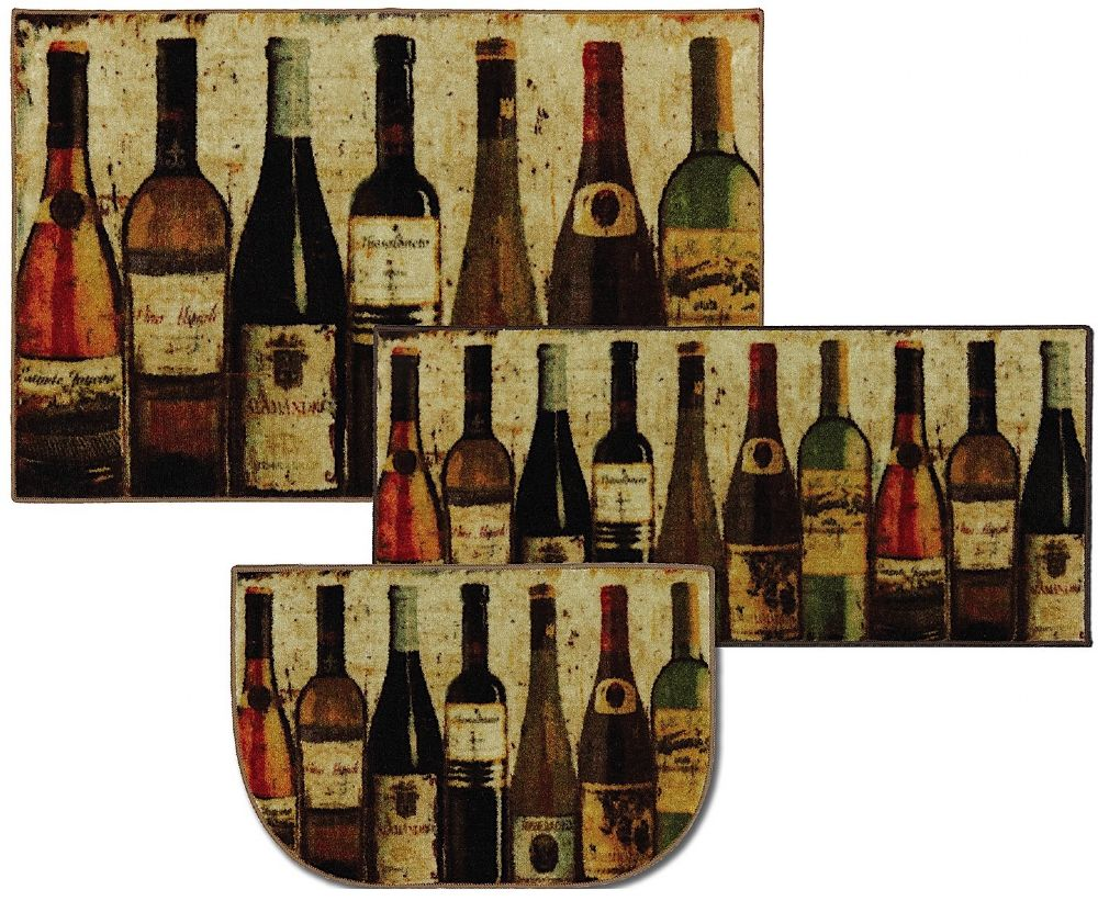 mohawk new wave wine row multi set of 3 (20x45, 30x48, 20x30 slice) contemporary area rug collection