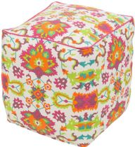Surya Country & Floral Technicolor pouf/ottoman Collection