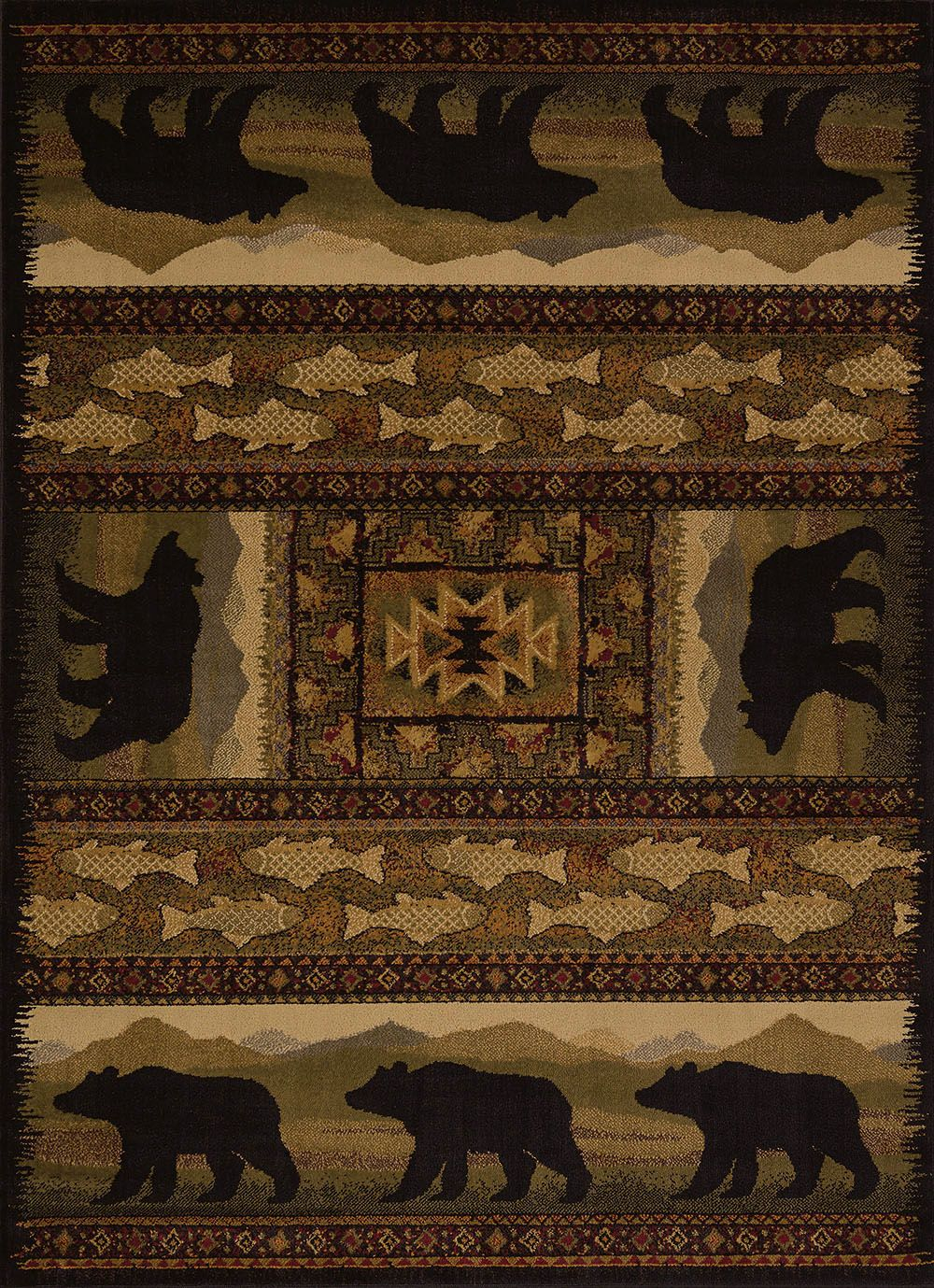 united weavers affinity  bears southwestern/lodge area rug collection