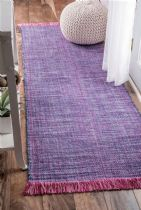 NuLoom Solid/Striped Tassel Cotton Solid Elke Area Rug Collection