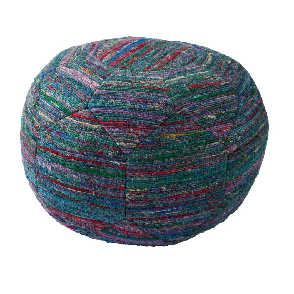 jaipur national geographic home solid/striped pouf/ottoman collection