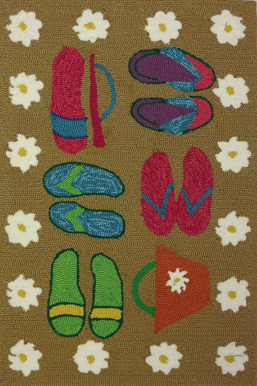 homefires beach sandals indoor/outdoor area rug collection