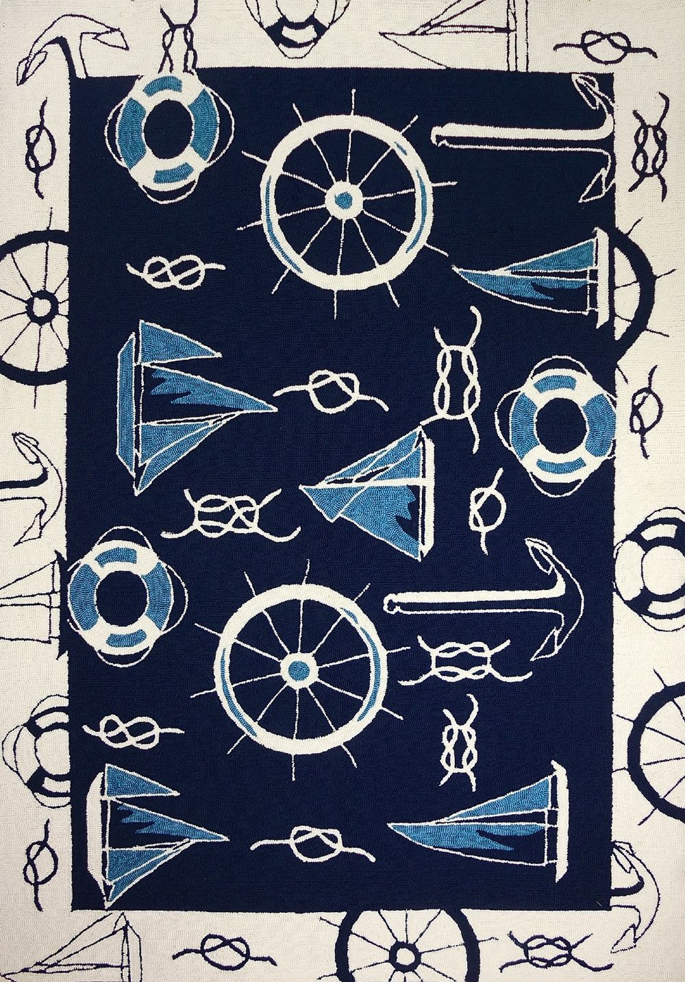 homefires blue & white nautical indoor/outdoor area rug collection