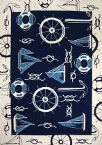 Homefires Indoor/Outdoor Blue & White Nautical Area Rug Collection