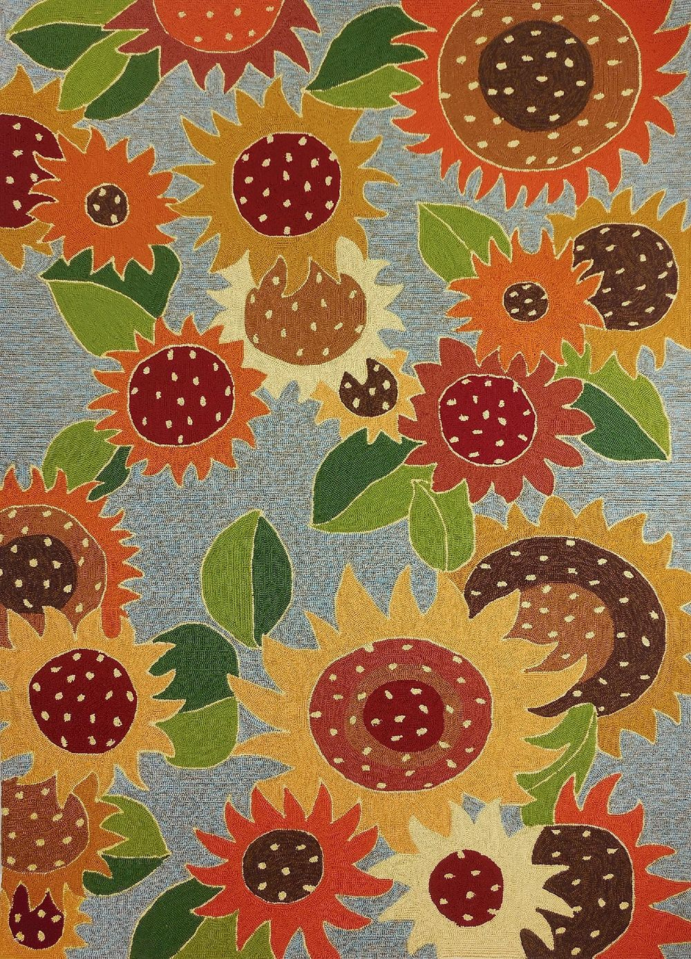 homefires sunflower impression country & floral area rug collection