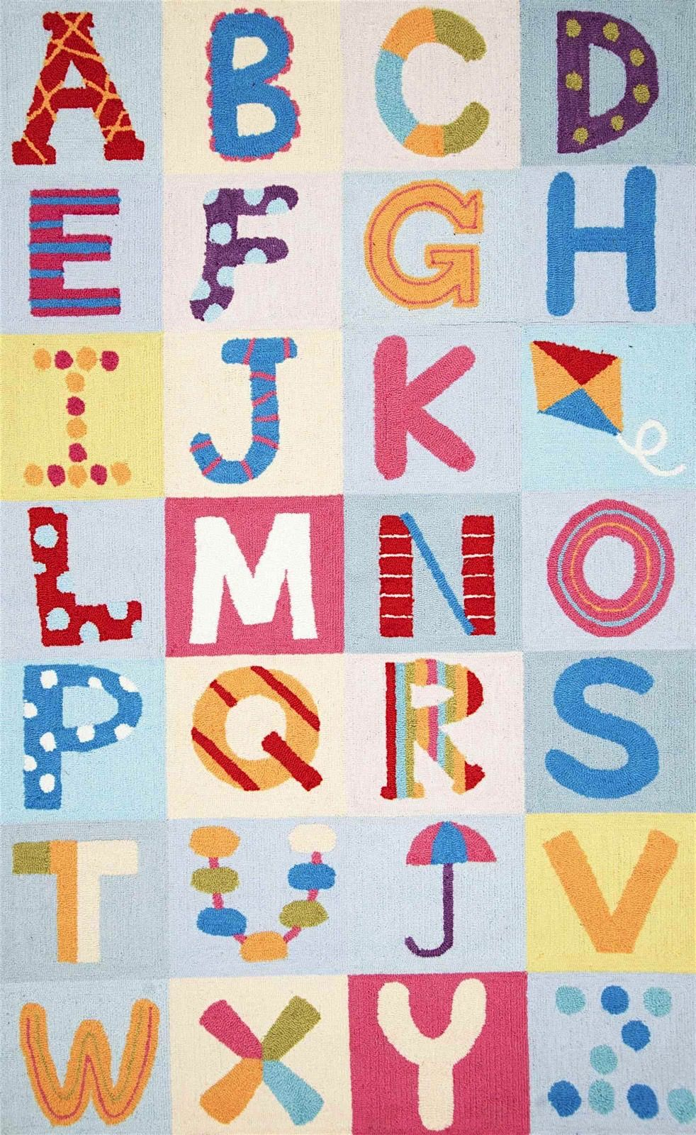 nuloom alphabet boxes kids area rug collection