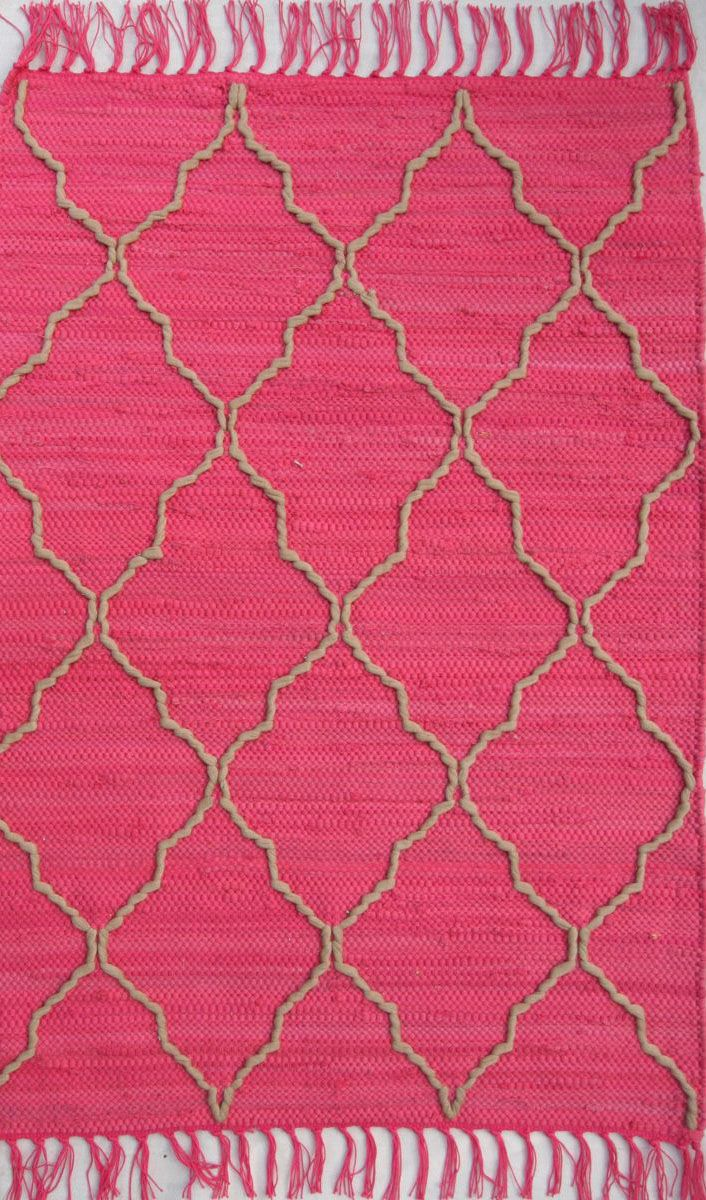 homespice decor trellis dark pink braided area rug collection