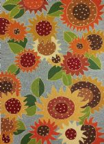 Homefires Contemporary Sunflower Impression Area Rug Collection