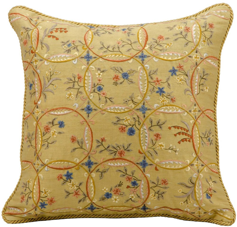 nourison silk embroidery pillow country & floral decorative pillow collection