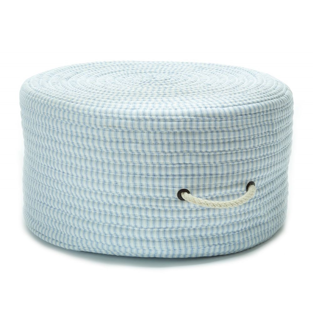colonial mills ticking fabric stripe pouf braided pouf/ottoman collection