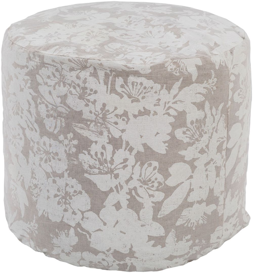 surya clara country & floral pouf/ottoman collection