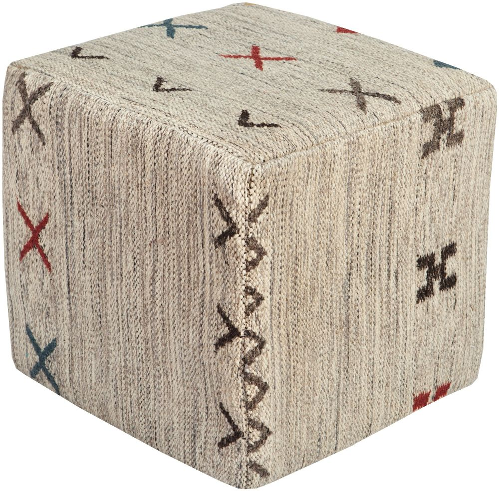 surya cherokee southwestern/lodge pouf/ottoman collection