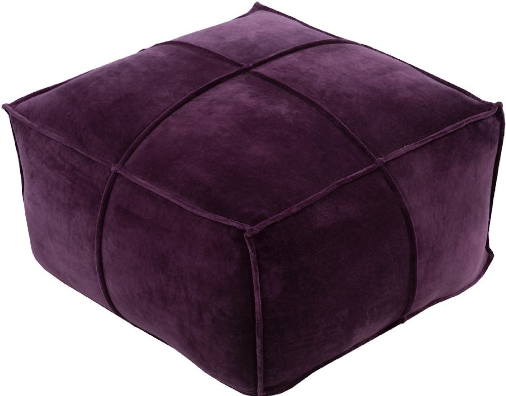 surya cotton velvet solid/striped pouf/ottoman collection