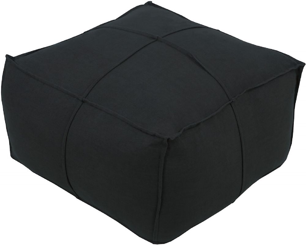 surya solid linen contemporary pouf/ottoman collection