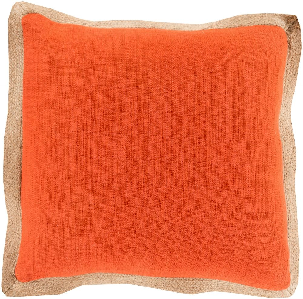 surya jute flange solid/striped decorative pillow collection