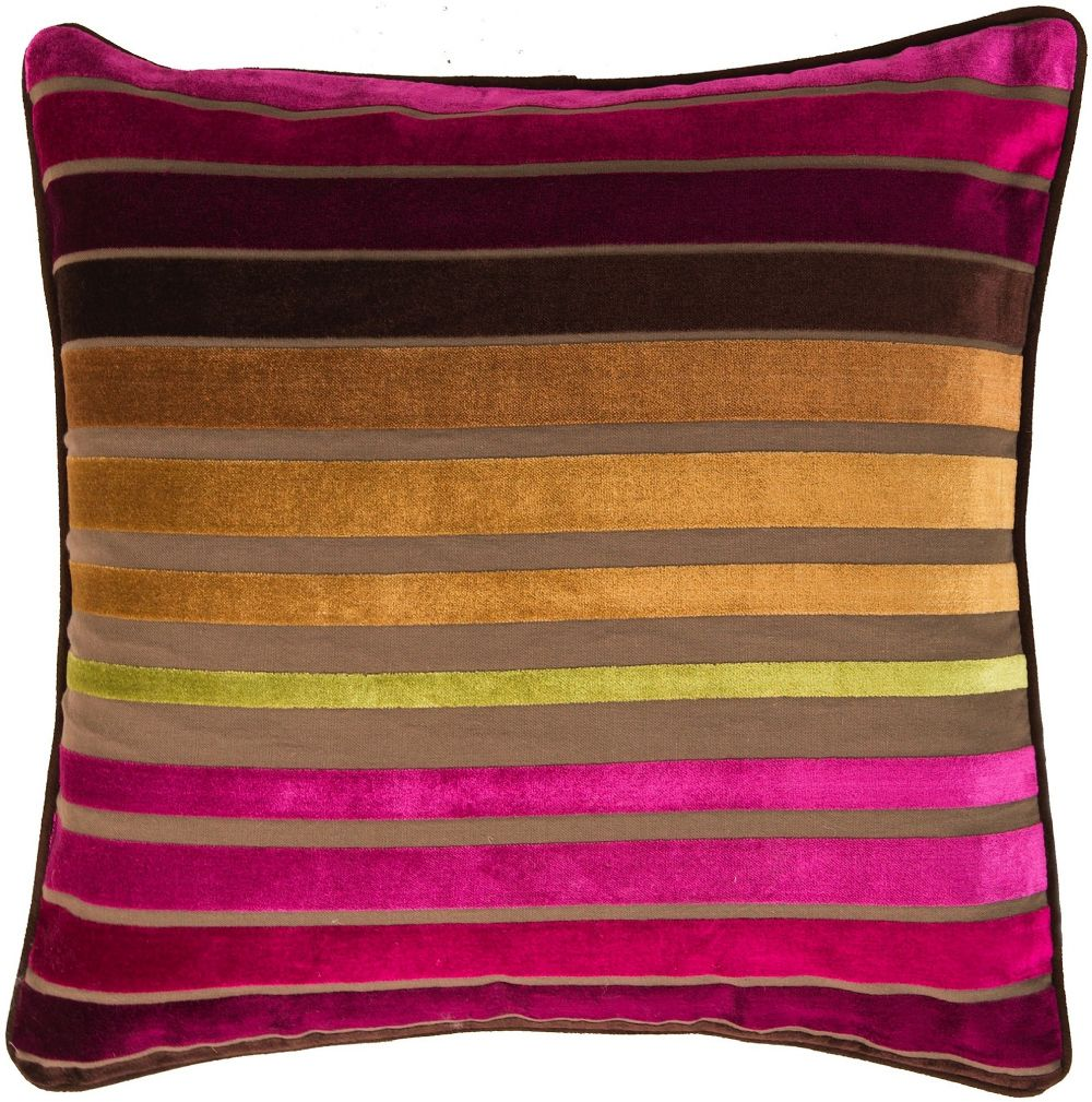 surya velvet stripe solid/striped decorative pillow collection
