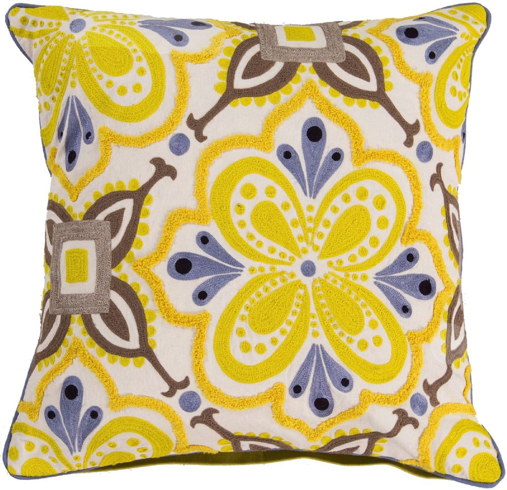 surya alhambra embroidered country & floral decorative pillow collection