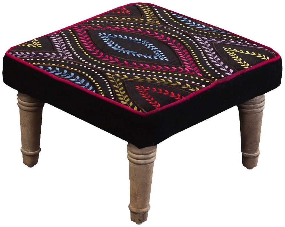 surya embroidered contemporary stools