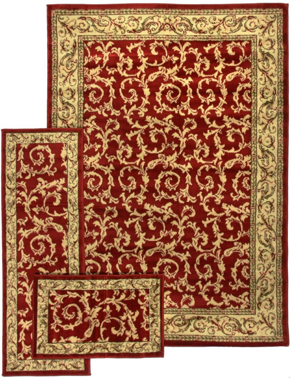 well woven breathless desire 3 pc set (5x7, 1.10x5, 1.8x2.7) transitional area rug collection