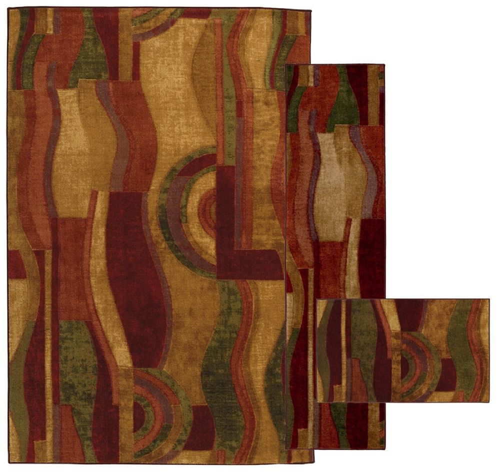 mohawk picasso wine - set of 3 (8x10, 2x8, 1.8x2.10) contemporary area rug collection