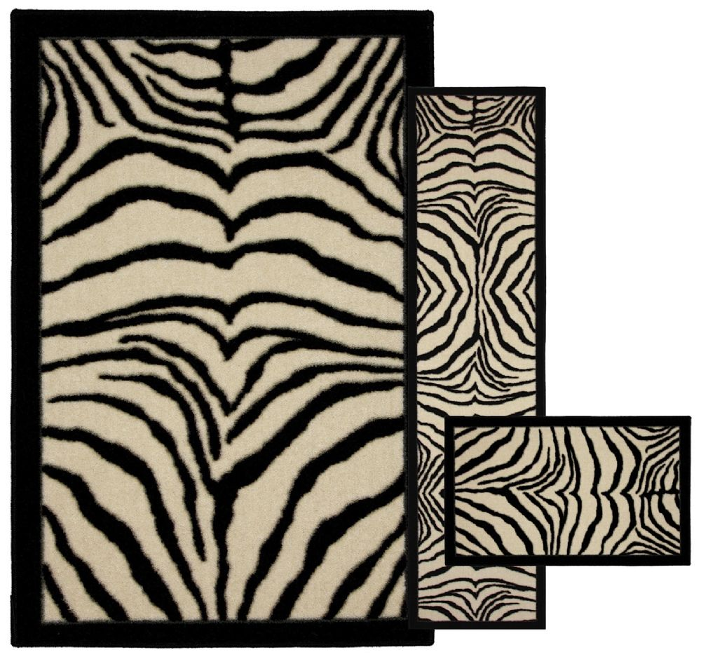 mohawk zebra safarie black - set of 3 (8x10, 2x8, 1.8x2.10) animal inspirations area rug collection