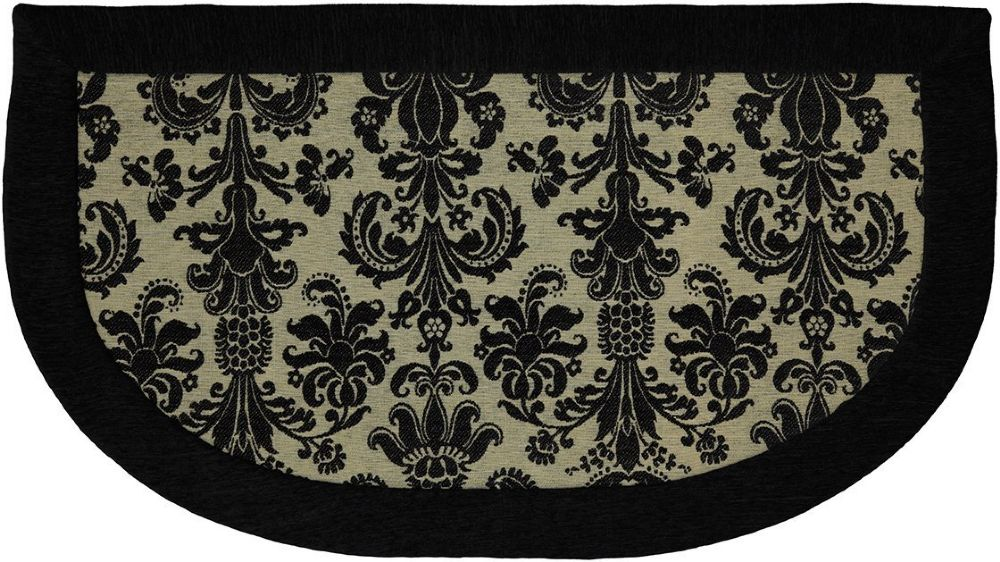 mohawk damask black border contemporary area rug collection