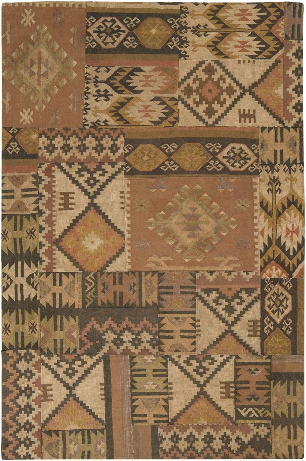 surya patch work southwestern/lodge area rug collection