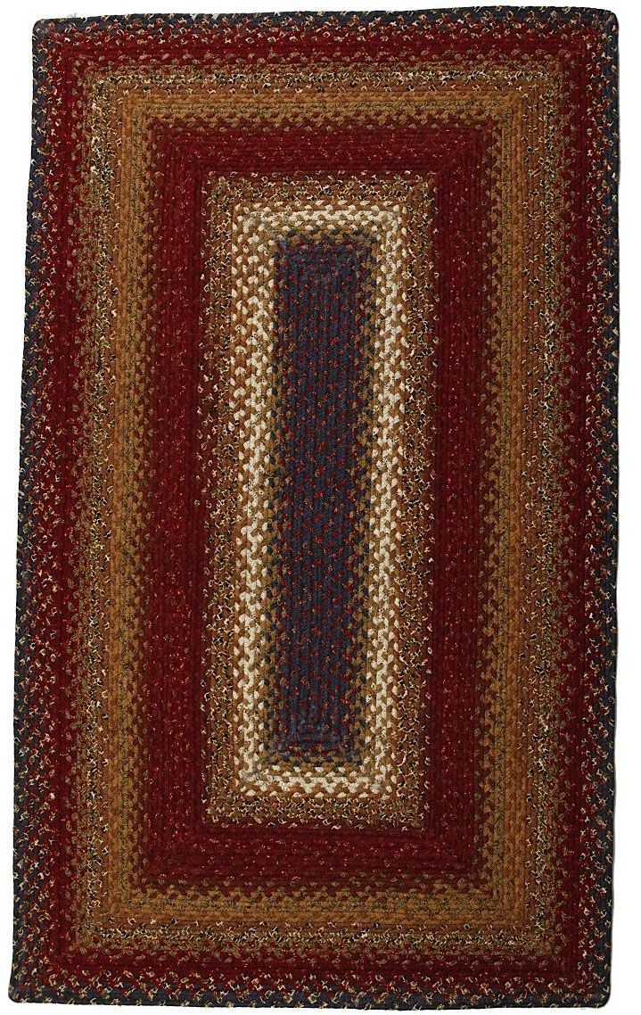 homespice decor log cabin step braided area rug collection
