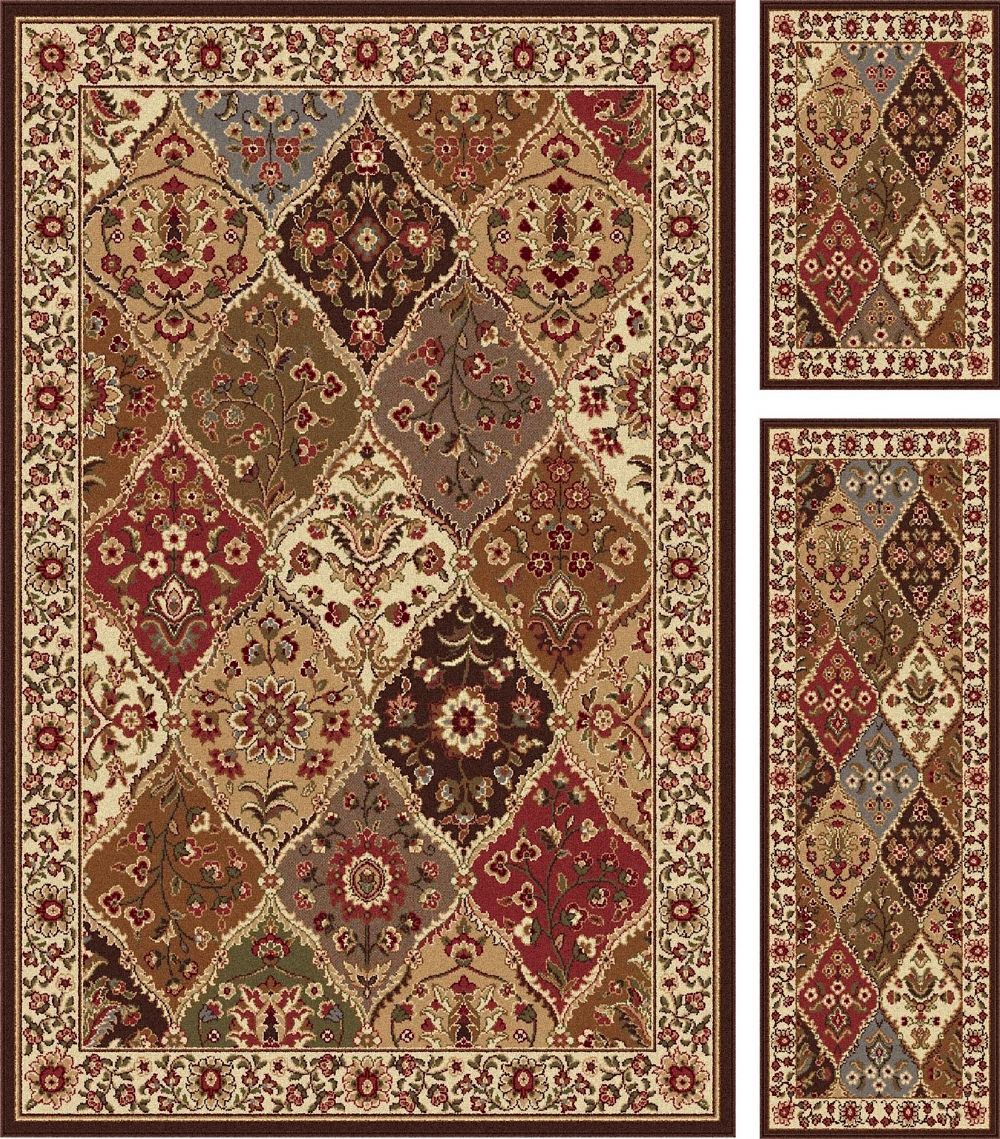 tayse elegance - set of 3-5x7 - 1.8x5 - 1.8x2.8 traditional area rug collection