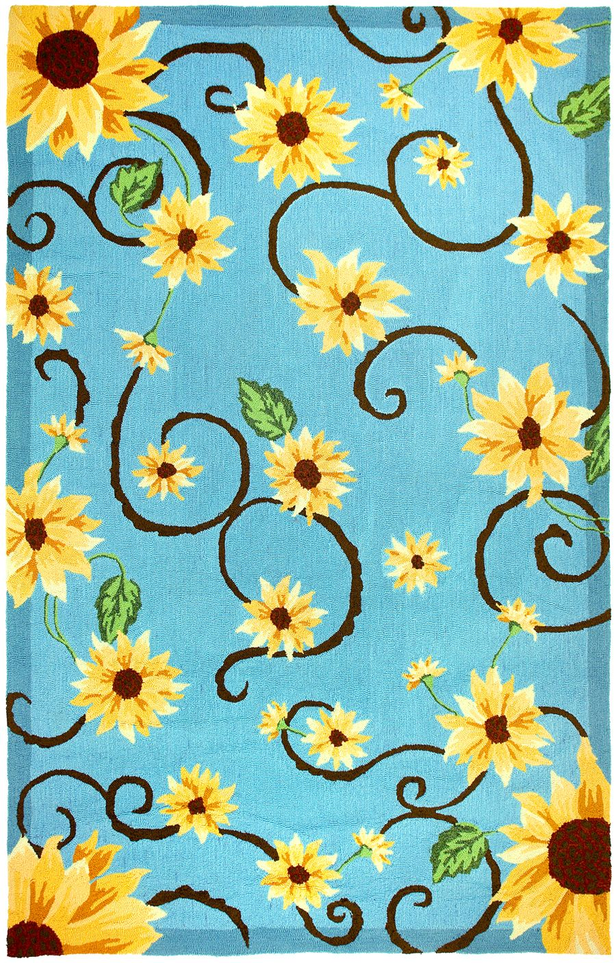homefires sunflowers  on blue contemporary area rug collection