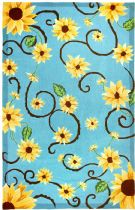 Homefires Contemporary Sunflowers  On Blue Area Rug Collection