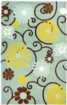 Homefires Contemporary Daisies On Spa Blue Area Rug Collection