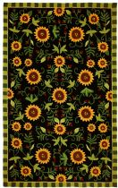 Homefires Contemporary Sunflowers On Black Area Rug Collection