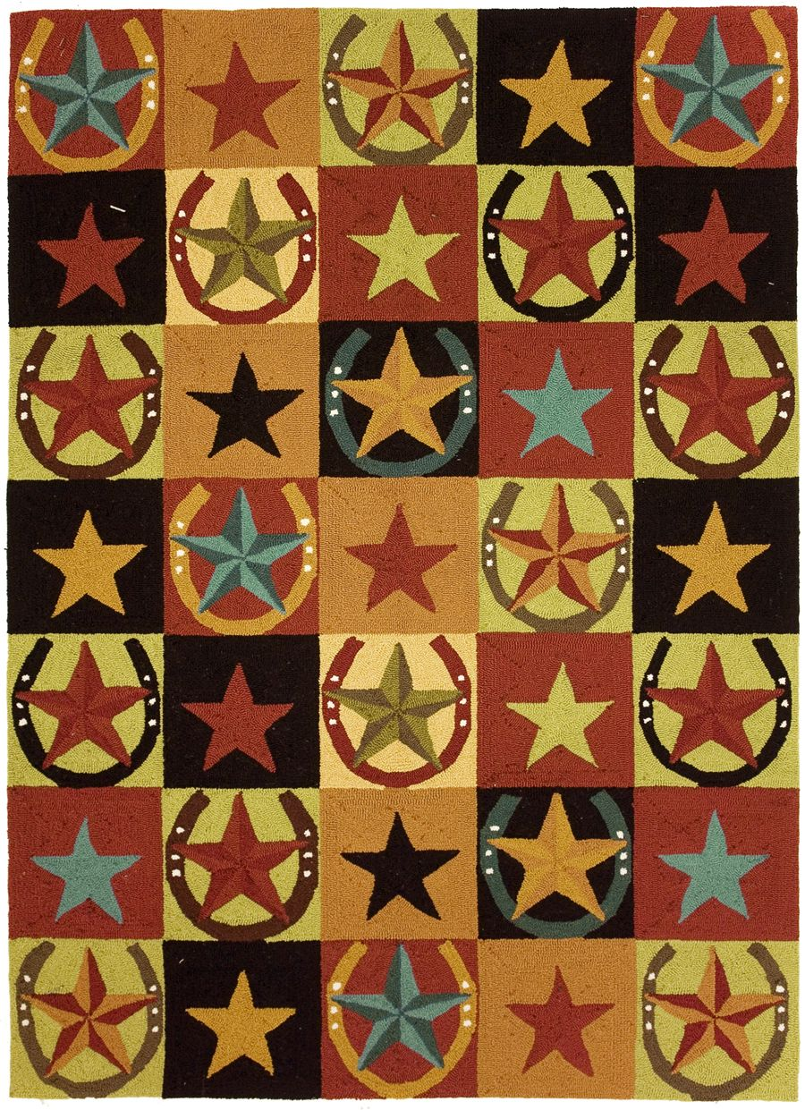 homefires western stars & horseshoes southwestern/lodge area rug collection