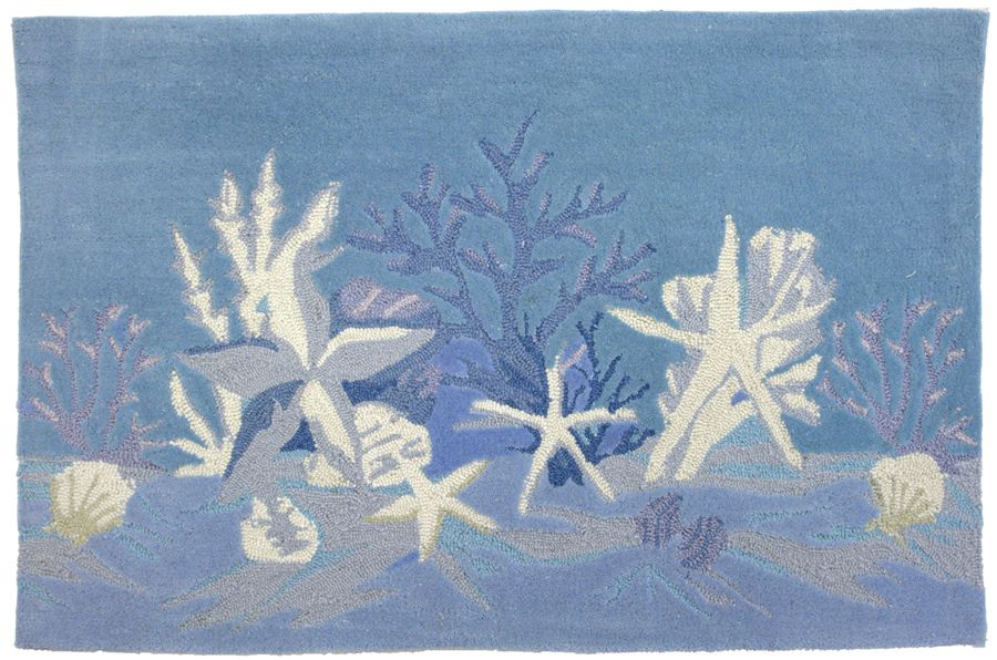homefires sea star blue contemporary area rug collection