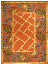 Homefires Contemporary Tropical Palms & Bamboo Terracotta Area Rug Collection