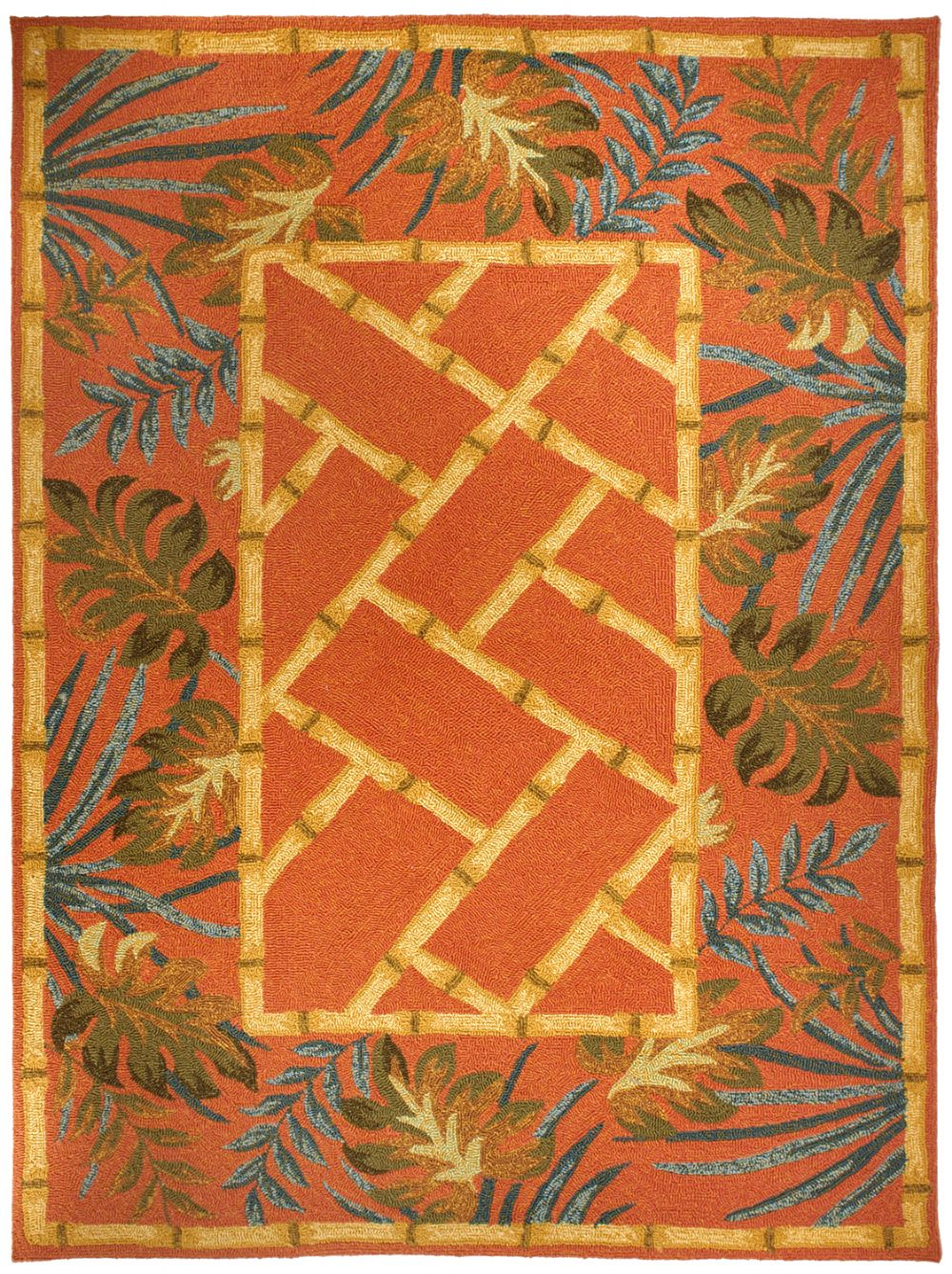 homefires tropical palms & bamboo terracotta contemporary area rug collection