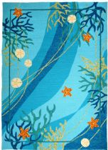 Homefires Contemporary Underwater Coral & Starfish Area Rug Collection