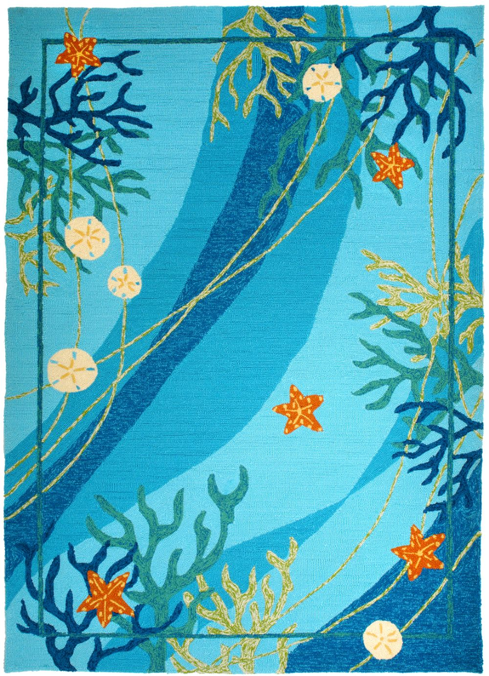 homefires underwater coral & starfish contemporary area rug collection