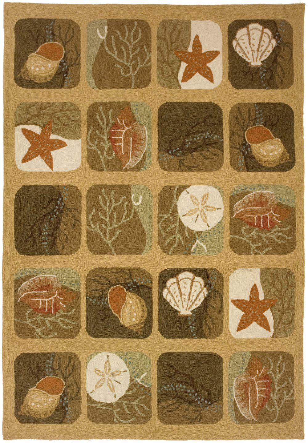 homefires shell tile contemporary area rug collection
