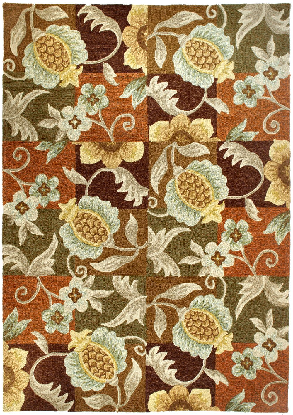 homefires tropical pineapple & flowers contemporary area rug collection