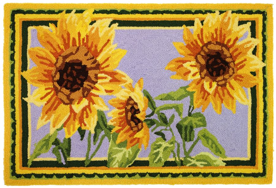homefires giant sunflowers contemporary area rug collection