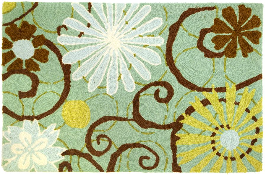 homefires daisies on blue contemporary area rug collection