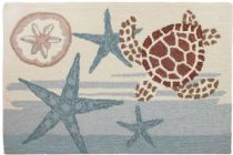 Homefires Contemporary Coastal Turtle Area Rug Collection