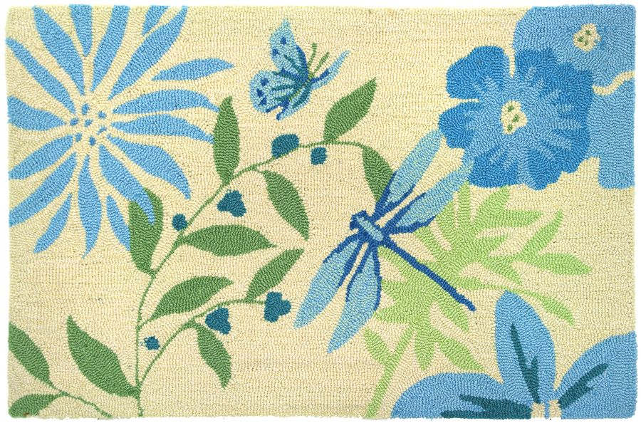homefires blue butterfly & dragonfly contemporary area rug collection